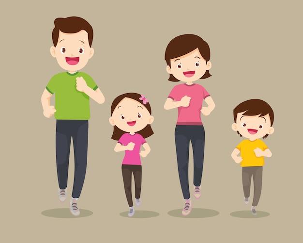 Семья бегает трусцой и занимается вместе