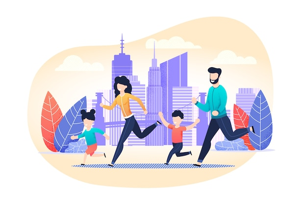 Family jogging exercise on city street cartoon