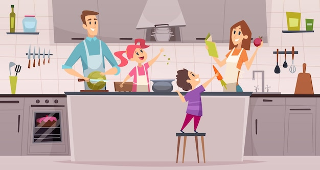 Family kitchen. kids boys and girls helping preparing food to their parents cartoon
