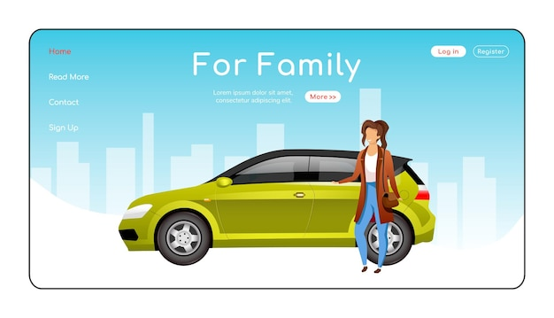 For family landing page flat color template