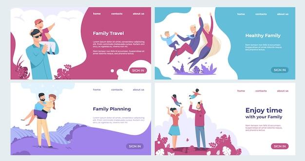 가족 방문 페이지. 만화 캐릭터, 부모 및 자녀 세트가있는 보험 및 가족 안전 웹 페이지.
