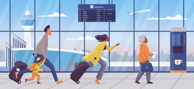 Family late for plane flight concept illustration
