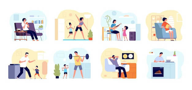 Family leisure home. people cooking, painting play with children. father boy relax, parents child together game hobby at house vector set. activity playing family, entertainment indoor illustration