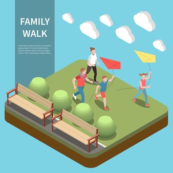 Family leisure playing isometric composition family walk headline and children play with a kite in park