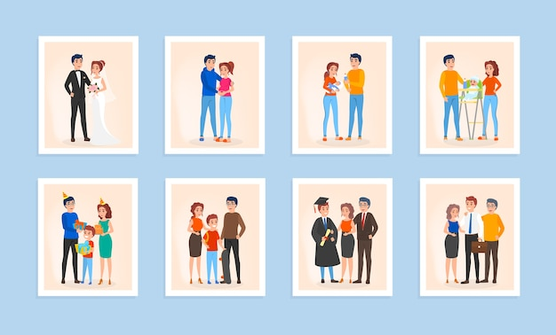 Family life cycle set. couple in love, marriage, pregnancy and newborn baby. generation and age concept. isolated vector illustration in cartoon style