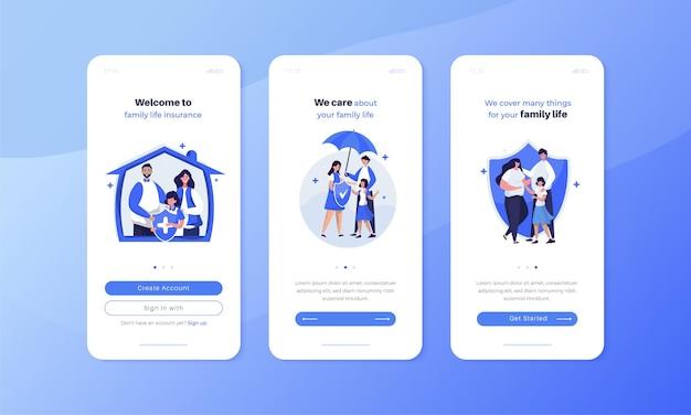 モバイルユーザーインターフェイス画面の概念に設定された家族の生命保険のイラスト