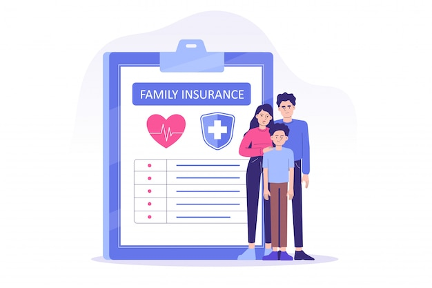 Family life insurance, young family or people having examination