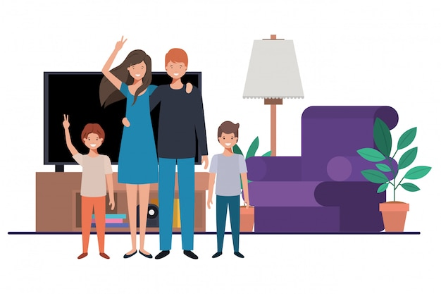 Family in living room avatar character