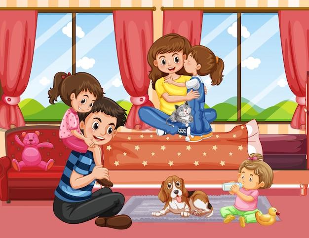 Family in living room scene or background