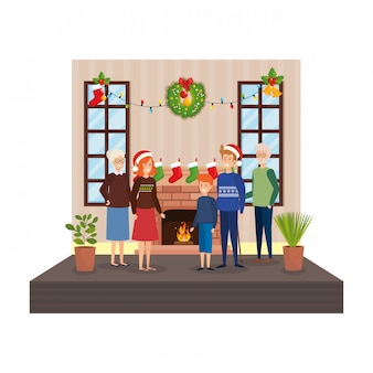 Family in living room with christmas decoration