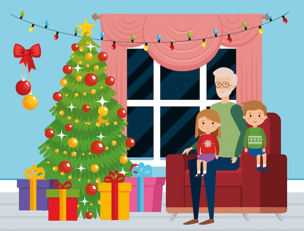 Family in livingroom with christmas decoration