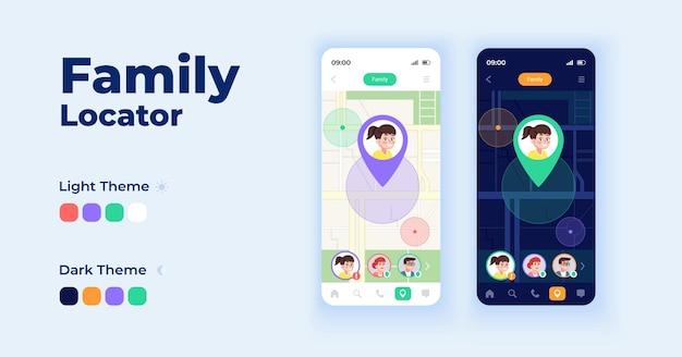 Family locator cartoon smartphone interface templates set.