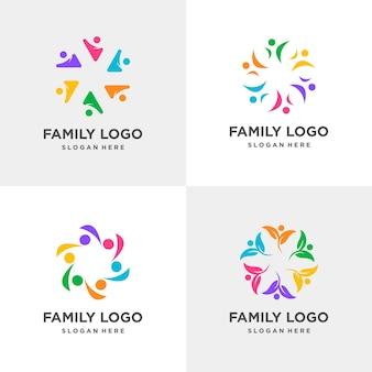 Семейная коллекция логотипов сообщество социальный бизнес финансы человек premium векторы
