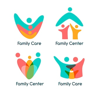 Семейная тема коллекции логотипов