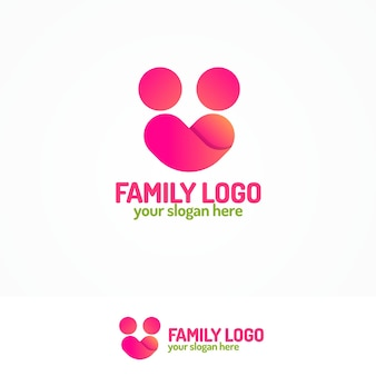 Family logo consisting of simple figures two people and heart