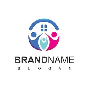 Семейный логотип дизайн вектор