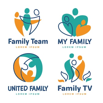 Family logo templates set