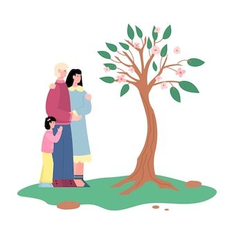 Family looking at tree that they growing cartoon vector illustration isolated