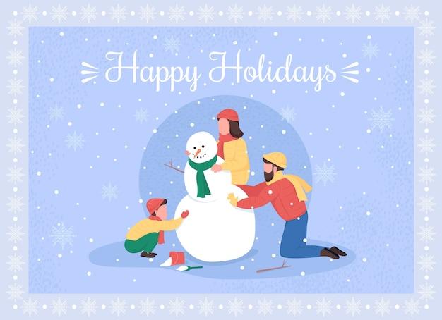 家族は雪だるまのグリーティングカードフラットテンプレートを作成します。クリスマスシーズン。親と子は雪の中で遊ぶ。パンフレット、小冊子1ページのコンセプトデザインと漫画のキャラクター。ハッピーホリデーチラシ、リーフレット