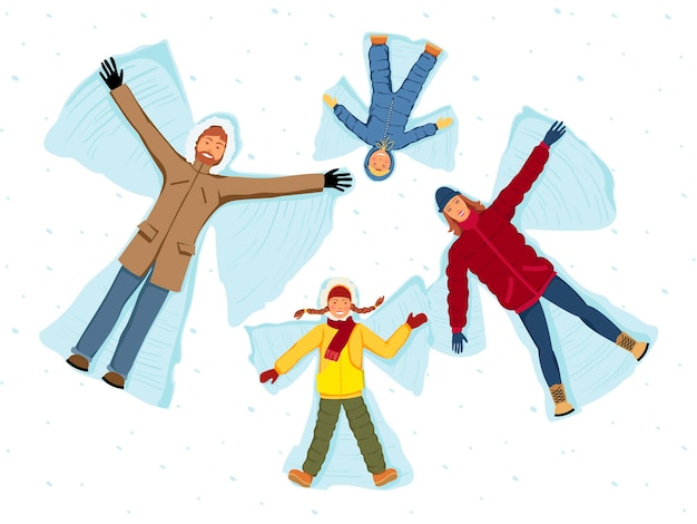 Family making snow angels. parents and children isolated vector illustration.