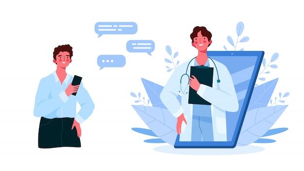 Семейный врач-мужчина со стетоскопом на смартфоне