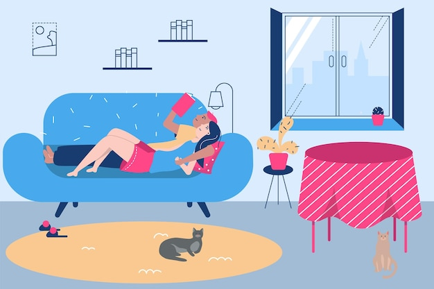 Family man woman lying at sofa together vector illustration flat man woman couple character read boo...