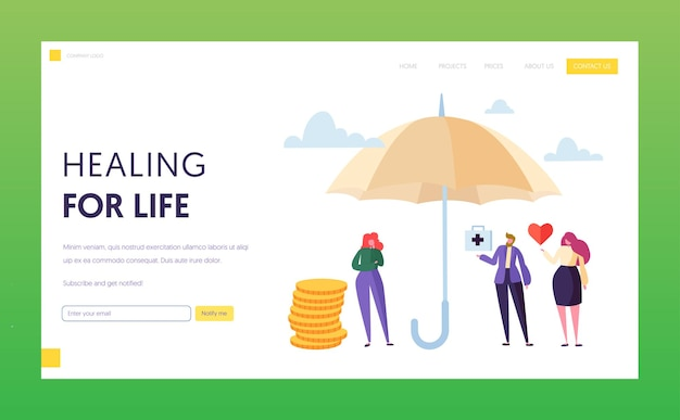 Family medical life insurance landing page concept.