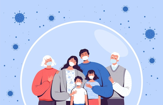 Family in medical masks stands in a protective bubble. adults, old people and children are protected from the new coronavirus covid-2019.