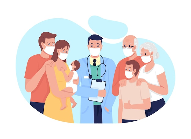 Family medicine 2d vector isolated illustration. treating adults, seniors and children flat characters on cartoon background. doctor-patient relationship. general practice physician colourful scene