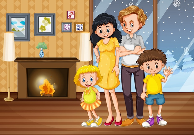 거실에서 가족 구성원 만화 캐릭터