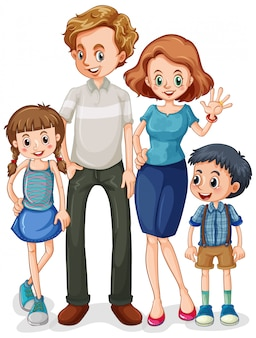 Family member cartoon character on white background
