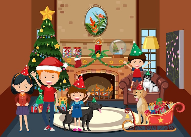 家でクリスマスを祝う家族