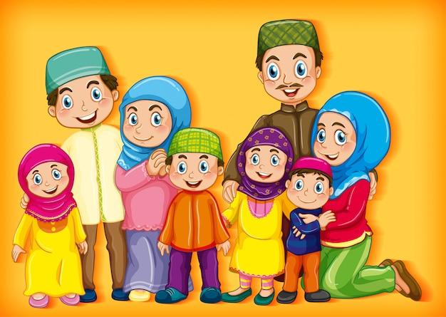 Член семьи на фоне цвета градиента персонажа из мультфильма