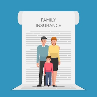 Family members are standing on the insurance policy document. health and family insurance concept.
