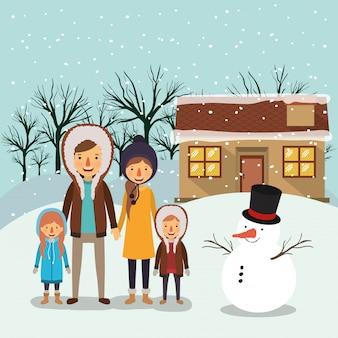 Family members celebrating christmas outside the house