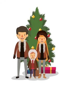 Family members celebrating christmas with pine tree