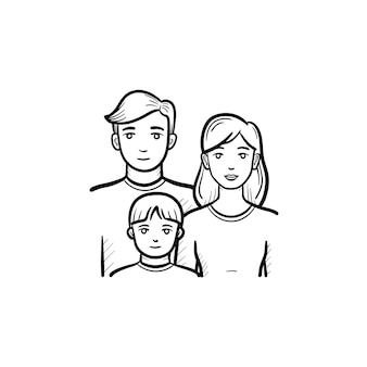 Family members hand drawn outline doodle icon