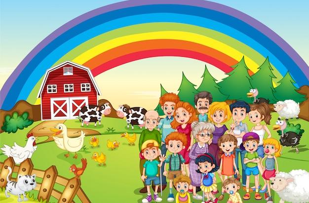 農家に住む家族