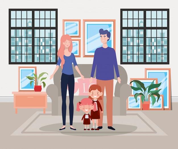 Family members in livingroom house scene