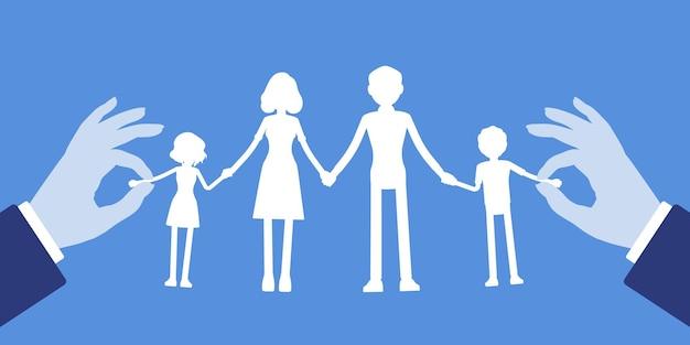 家族のペーパークラフトガーランドチェーン。親子ユニット、母、父、息子、手をつないで娘、治療と心理的なヘルプのシンボルの白いシルエットの人形。ベクトルイラスト