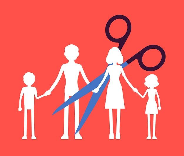家族の紙ガーランドチェーンカット。はさみは分割し、親と子のユニットを分離し、結婚の解消、離婚または解散後の親のアクセス権、分割。ベクトルイラスト