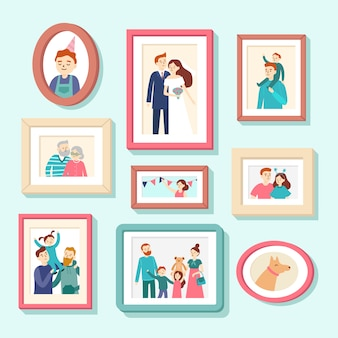 Family members portraits. wedding photo in frame, couple portrait. smiling husband, wife and kids photos in frames vector illustration