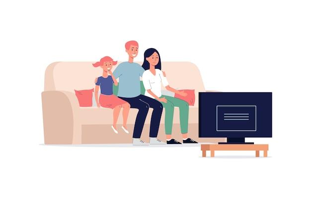 一緒にテレビ番組を見ている家族、白い背景で平らに隔離。ソファに座っている大人と子供の漫画のキャラクター。