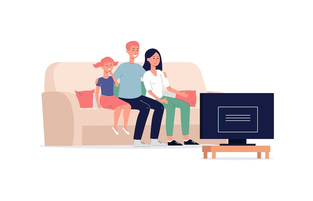 Family members watching tv program together, flat  isolated on white background. cartoon characters of adults and child sitting on sofa.