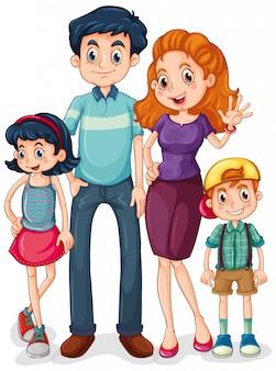 흰색 배경에 부모와 아이들과 함께 가족