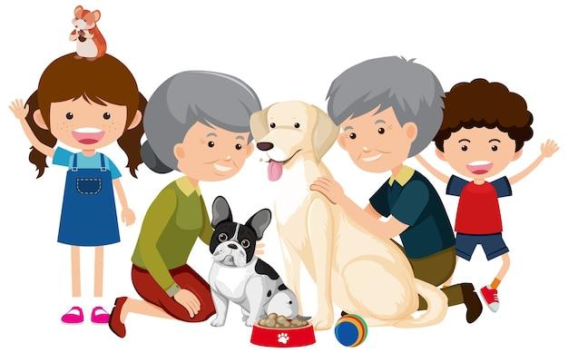 白で隔離のペットの犬と家族