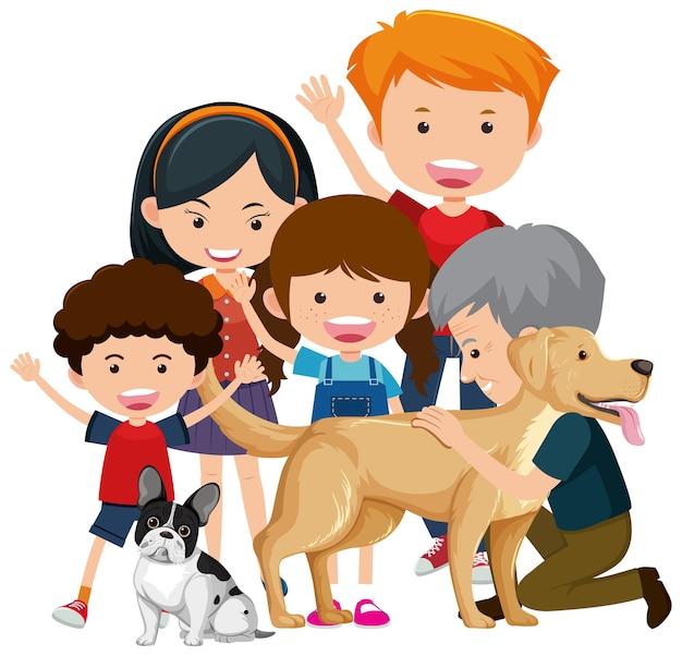 Члены семьи со своей собакой на белом фоне