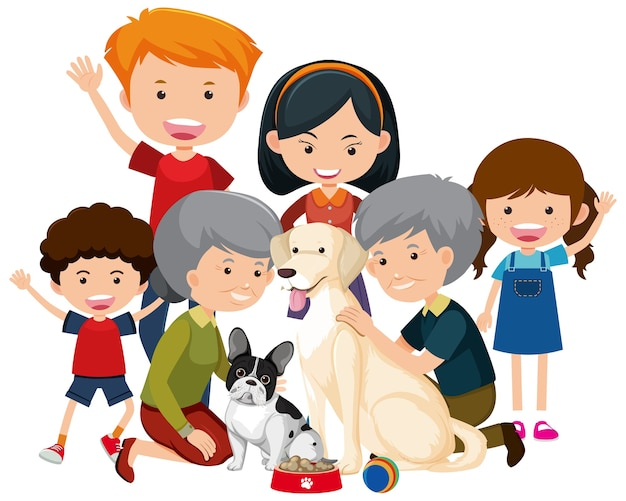 Family members with their pet dog on white background