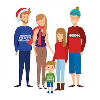 Family members with winter clothes