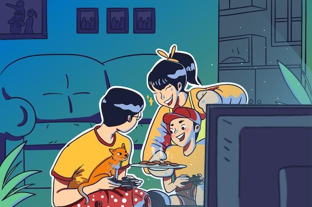 Семейные мама, папа и сын играют в игру, едят печенье и веселятся, рука рисует цветную иллюстрацию